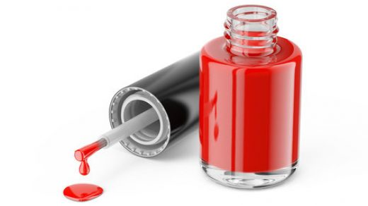 Open nail polish bottle with red nail polish isolated on white background -  3d rendering Stock Illustration | Adobe Stock