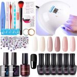 Buy Gellen Gel Nail Polish Kit with U V LED Light 54W Nail Dryer, 6 Gel Nail  Nude Colors, No Wipe Top Base Coat, Nail Art Decorations, Manicure Tools,  All-In-One Manicure Kit,